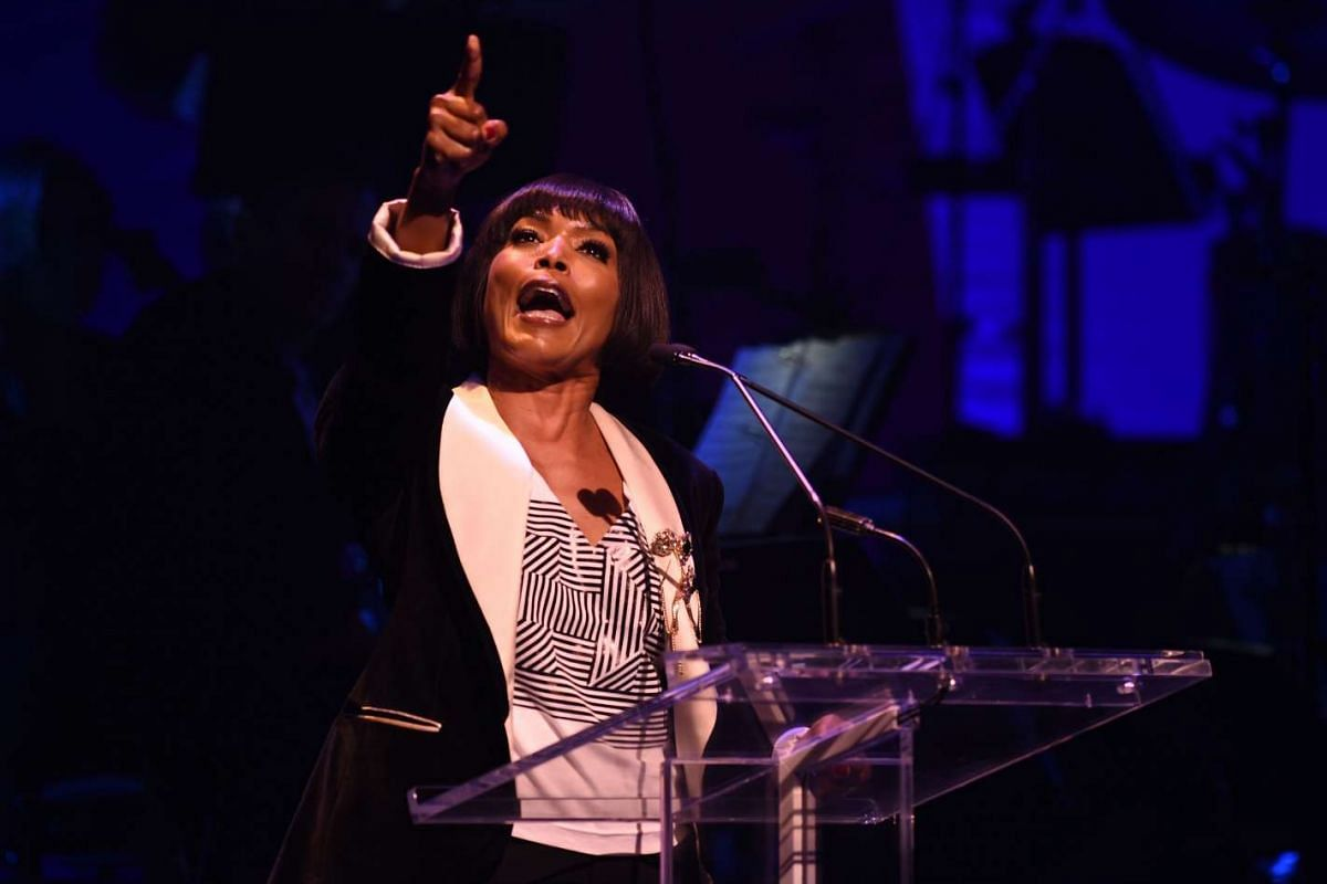 Angela Bassett speaking during the Stronger Together fund-raiser, in support of Democratic presidential candidate Hillary Clinton, at St James Theatre in New York on Oct 17, 2016.