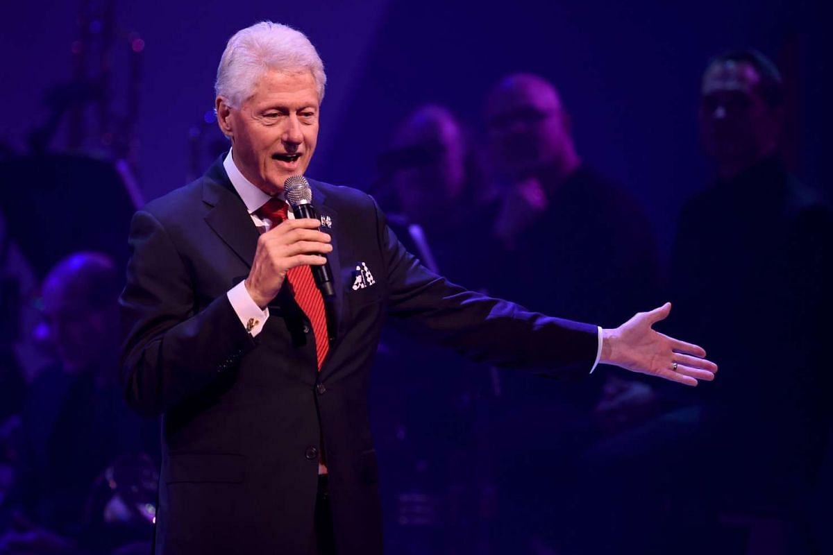 Bill Clinton speaking during the Stronger Together fund-raiser, in support of his wife, Democratic presidential candidate Hillary Clinton, at St James Theatre in New York on Oct 17, 2016.