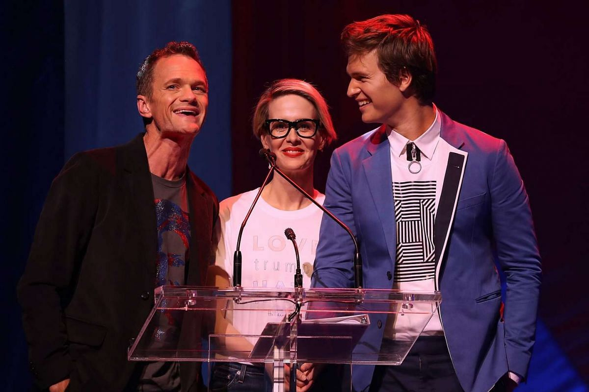 (From left) Actors Neil Patrick Harris, Sarah Paulson and Ansel Elgort speaking on stage during the Stronger Together fund-raiser, in support of Democratic presidential candidate Hillary Clinton, at St James Theatre in New York on Oct 17, 2016.