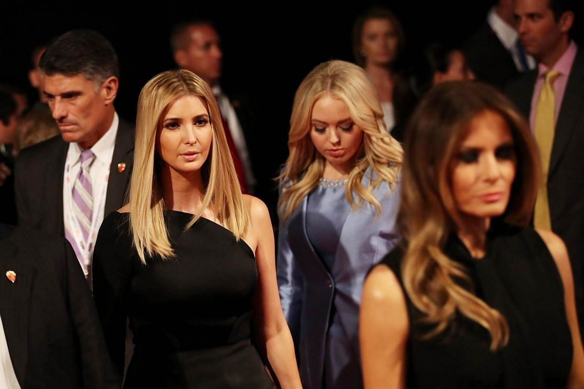 (From left) Ivanka Trump, Tiffany Trump and Melania Trump arrive before the start of the third US presidential debate in Las Vegas, Nevada.
