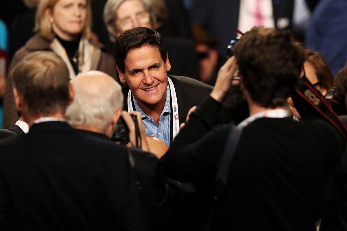 Investor and Dallas Mavericks owner Mark Cuban arrives before the start of the third US presidential debate in Las Vegas, Nevada.