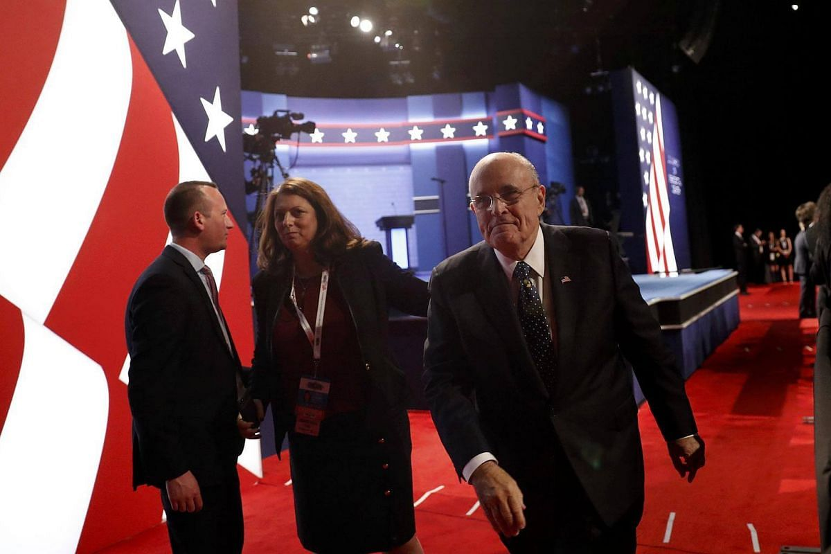 Mr Rudy Giuliani, former New York City Mayor and adviser to US presidential nominee Donald Trump, arrives for US presidential debate in Las Vegas, Nevada