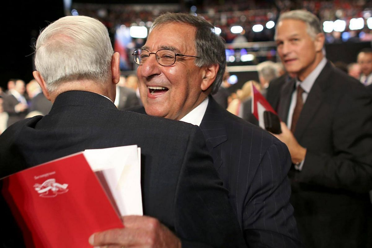 Former US Defence Secretary Leon Panetta arrives for the third and final 2016 US presidential debate in Las Vegas, Nevada.