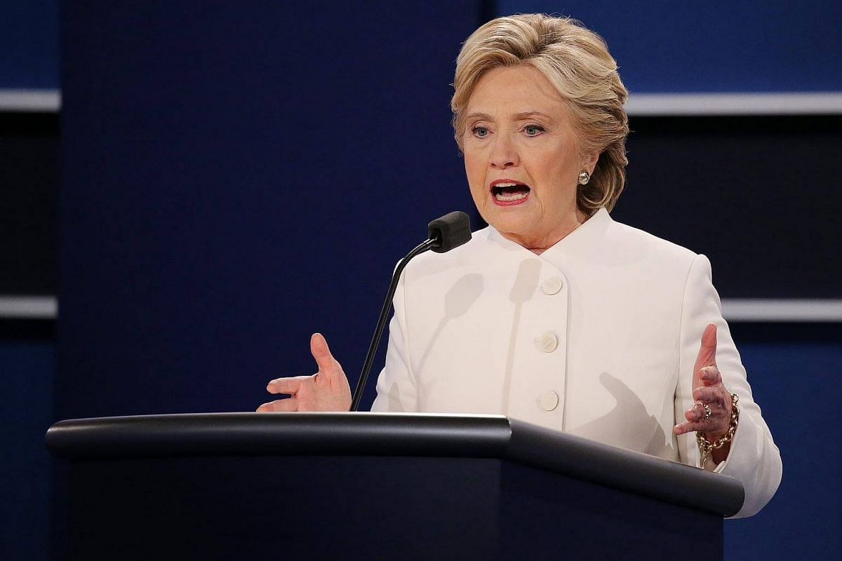 Mrs Hillary Clinton at the final US presidential debate in Las Vegas, Nevada.