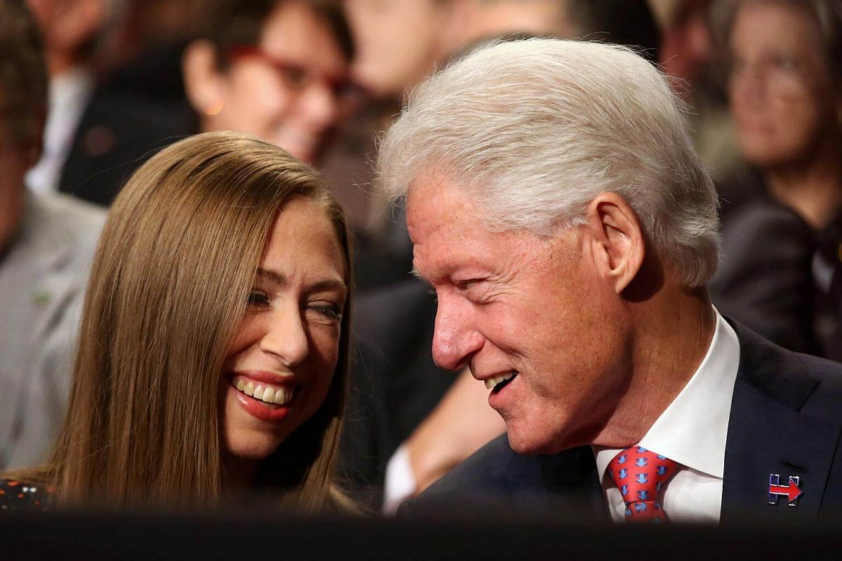 Former US President Bill Clinton with his daughter Chelsea Clinton prior to the third and final 2016 presidential campaign debate in Las Vegas, Nevada.