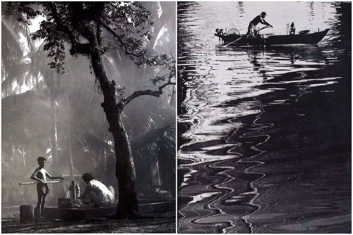 Left: A woman washing clothes near the well at a kampung in Tanah Merah in Singapore in the 1960s or 70s. Right: A fisherman rows his boat home near Merdeka Bridge in Singapore in the 1960s or 70s.