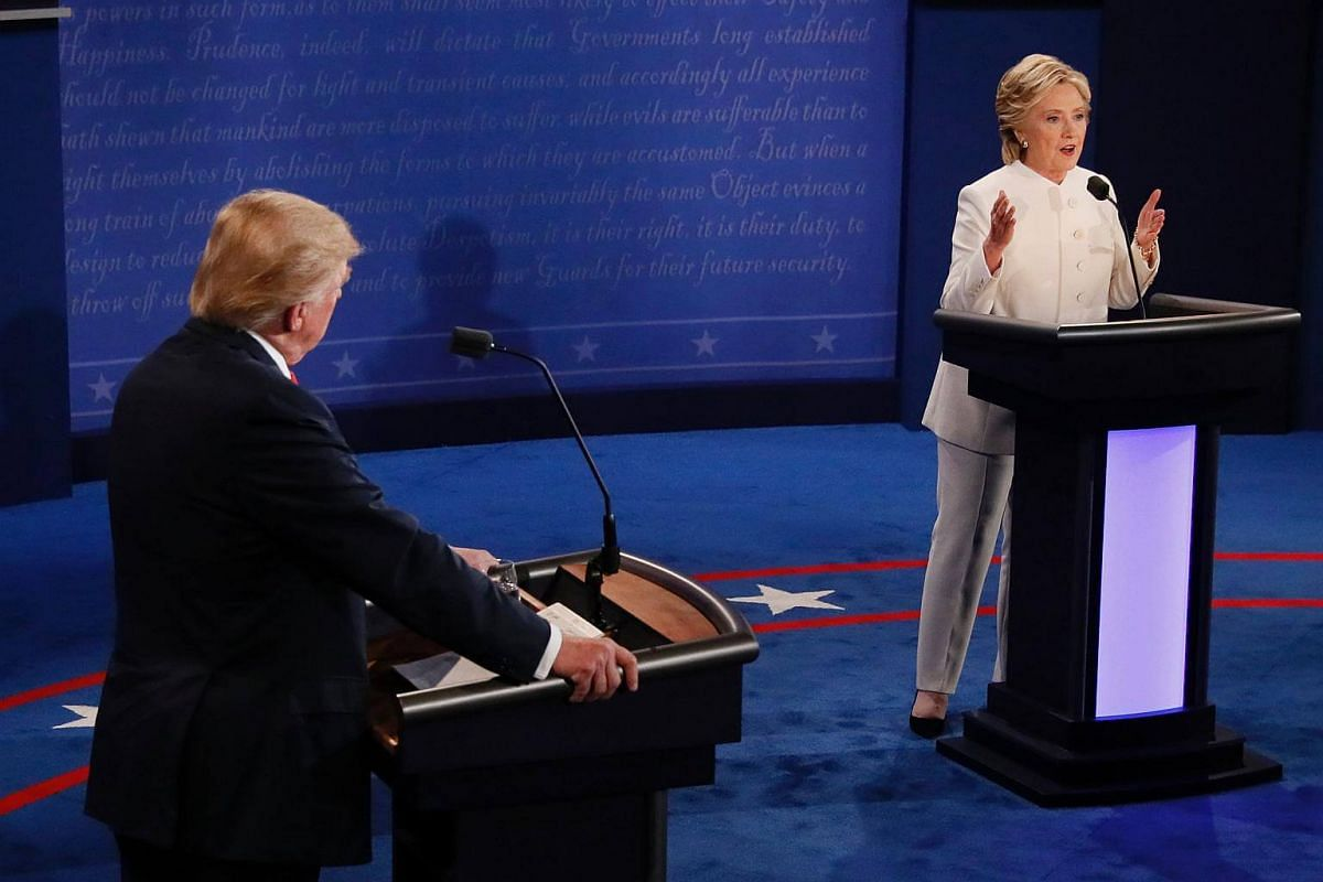 Mr Donald Trump and Mrs Hillary Clinton during the final presidential debate in Las Vegas, Nevada.