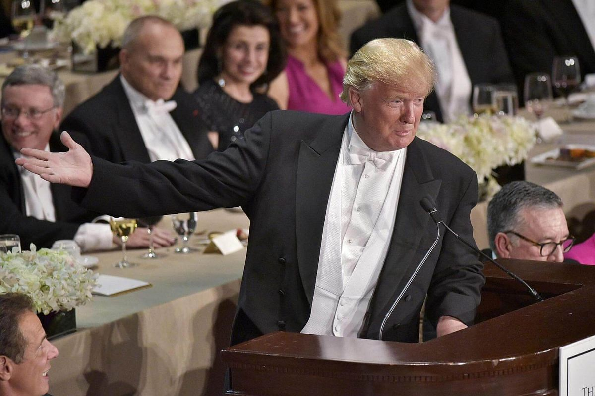 Republican presidential nominee Donald Trump speaks during the 71st annual Alfred E. Smith Memorial Foundation Dinner at the Waldorf-Astoria Hotel in New York on Oct 20, 2016.