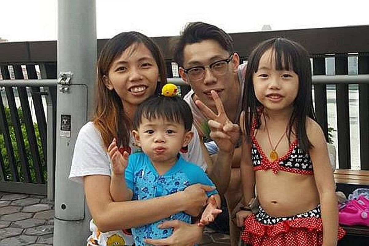 Ms Diana Ng, in her 40s, a full-time mum, and her son Brandon, seven. Above: Mr and Mrs Lim Hong Zhen and their daughter, Mikayla. Above: Mr and Mrs Joverst Lee, their daughter Chanel and son Jaylon.
