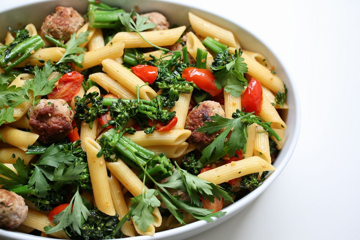 Penne with fennel meatballs is a quick and easy dinner to make on a weeknight.