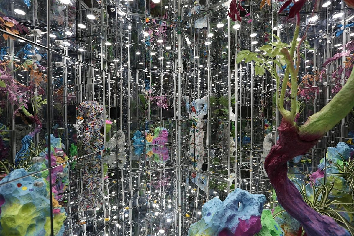 Noah's Garden II (above), by Chinese artist Deng Guoyuan, is a glasshouse made of mirrors, creating a kaleidoscopic effect.