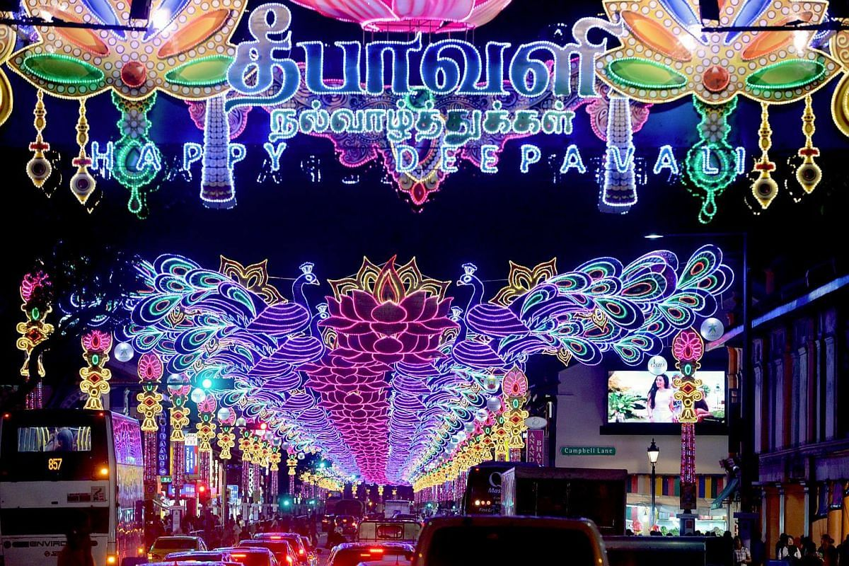 Serangoon Road is all lit for Deepavali celebrations in the annual light-up for the festival on Sept 17, 2016.