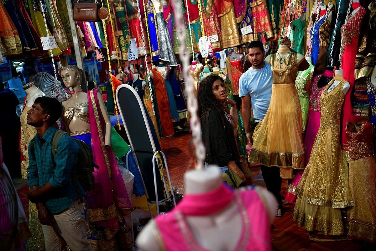 Shoppers at the Deepavali bazaar which was set up opposite Mustafa Centre for the festival on Oct 11, 2016.