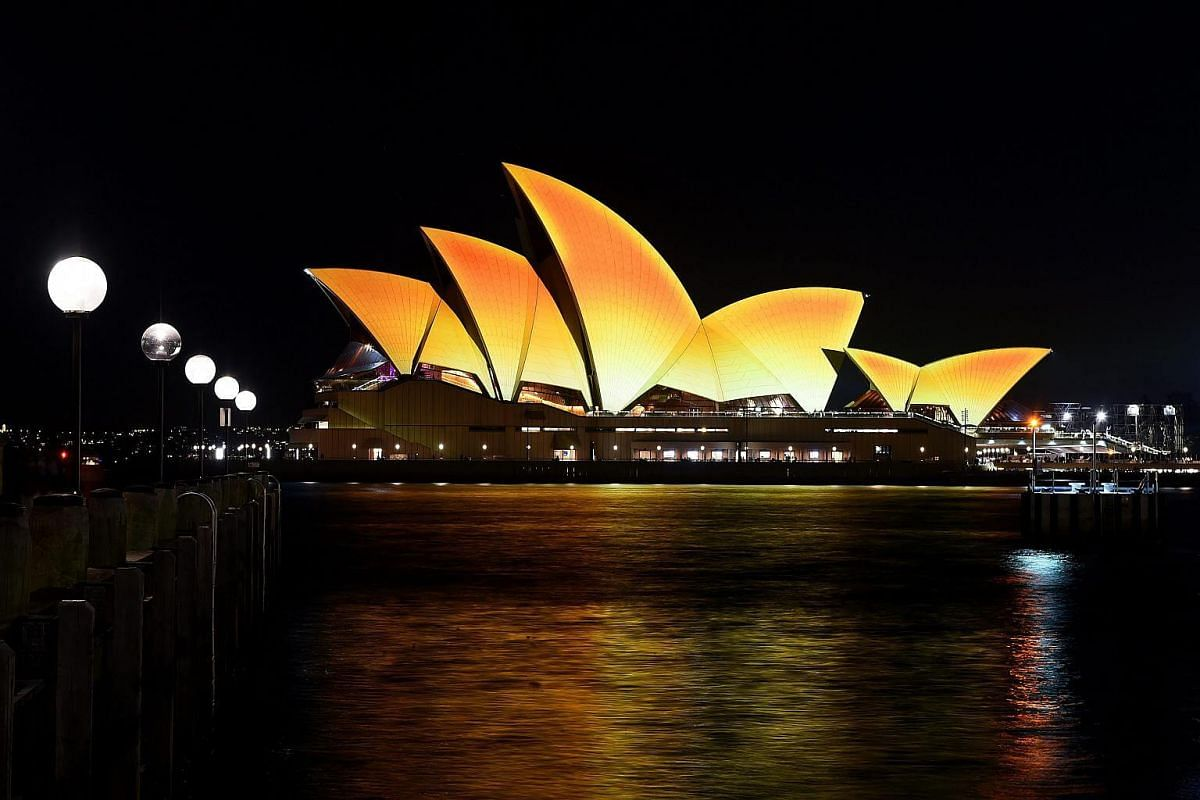 The Sydney Opera House is illuminated in a golden light to celebrate Deepavali in Sydney, Australia, on Oct 21, 2016. The Opera House was lit up for one night to celebrate the Hindu festival.