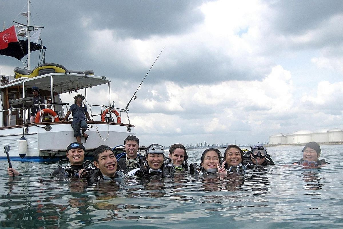 Kayak around the mangroves at Ubin with Asian Detours. Visiting the former quarry at Dairy Farm with Edu Outdoor Activities. Divers on a trip with Hantu Blog.