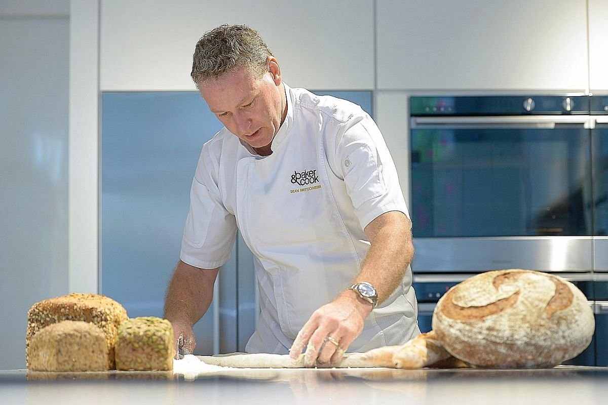 Mr Dean Brettschneider (above) at his baking and cooking school in Greendale Avenue.