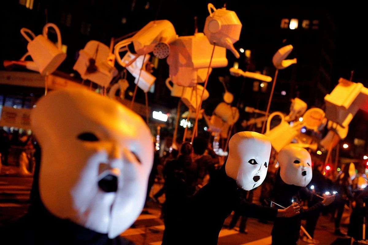 Participants perform Reverie as they participate in the Greenwich Village Halloween Parade.