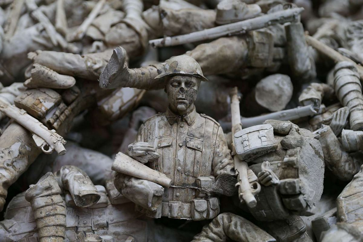 An art installation called Lost Armies, part of a Remembrance Art Trail in association with the Royal British Legion, created by artist Mark Humphrey at Canary Wharf in London on Oct 31, 2016.