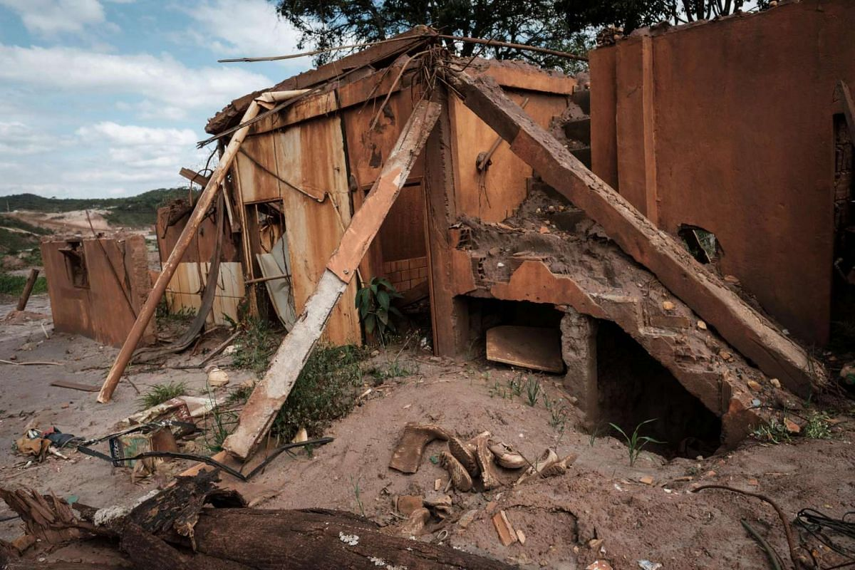 View at Bento Rodrigues village, ruined by the flood following the deadly collapse of the Samarco iron-ore mine dam last year, in Mariana of Minas Gerais State, Brazil on Oct 26, 2016.