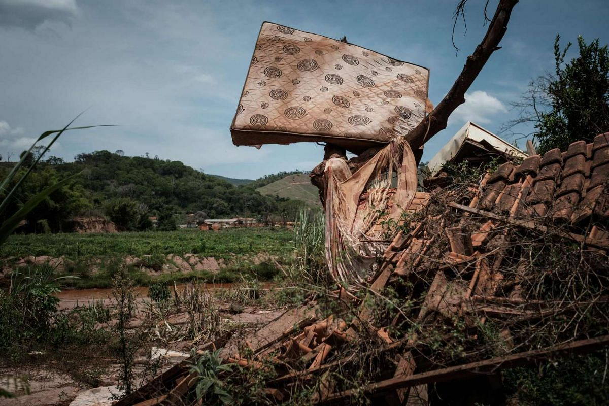 Picture taken on Oct 27, 2016, showing remains of houses damaged by the flood following the deadly collapse of the Samarco iron ore mine dam last year, at the village of Paracatu de Baixo in Mariana of Minas Gerais State, Brazil.