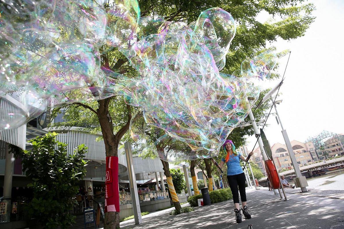 """The secret to Ms Caroline Cornelius-Jones' bubble """"sculptures"""" lies in her bubble concoction."""
