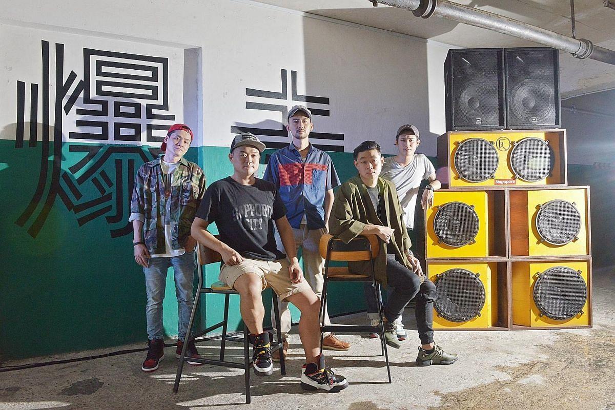 Lion Steppaz Sound, comprising (from left) Shingo Sakano, Araya Yuichiro, Ken Ito, Darren Tan and Toshikazu Miyanagi, and their 500kg reggae sound system.