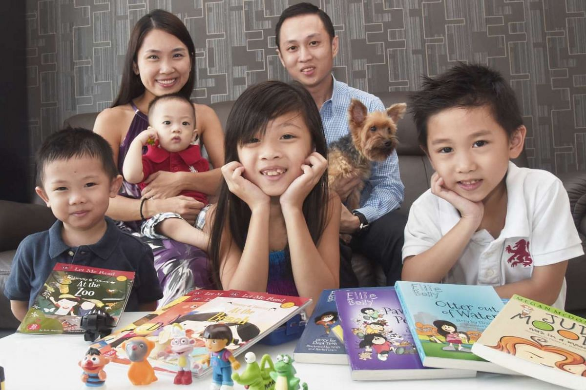 Mr Nicholas Wong and Mrs Noeline Wong's children (from far left) Nathan, four, Nicodemus, one, Natalie, eight, and Noah, six, get limited screen time.