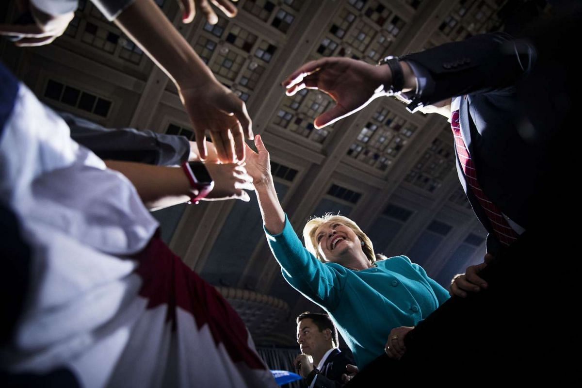 Hillary Clinton at a campaign rally where LeBron James also appeared at Public Auditorium in Cleveland on Nov 6, 2016.