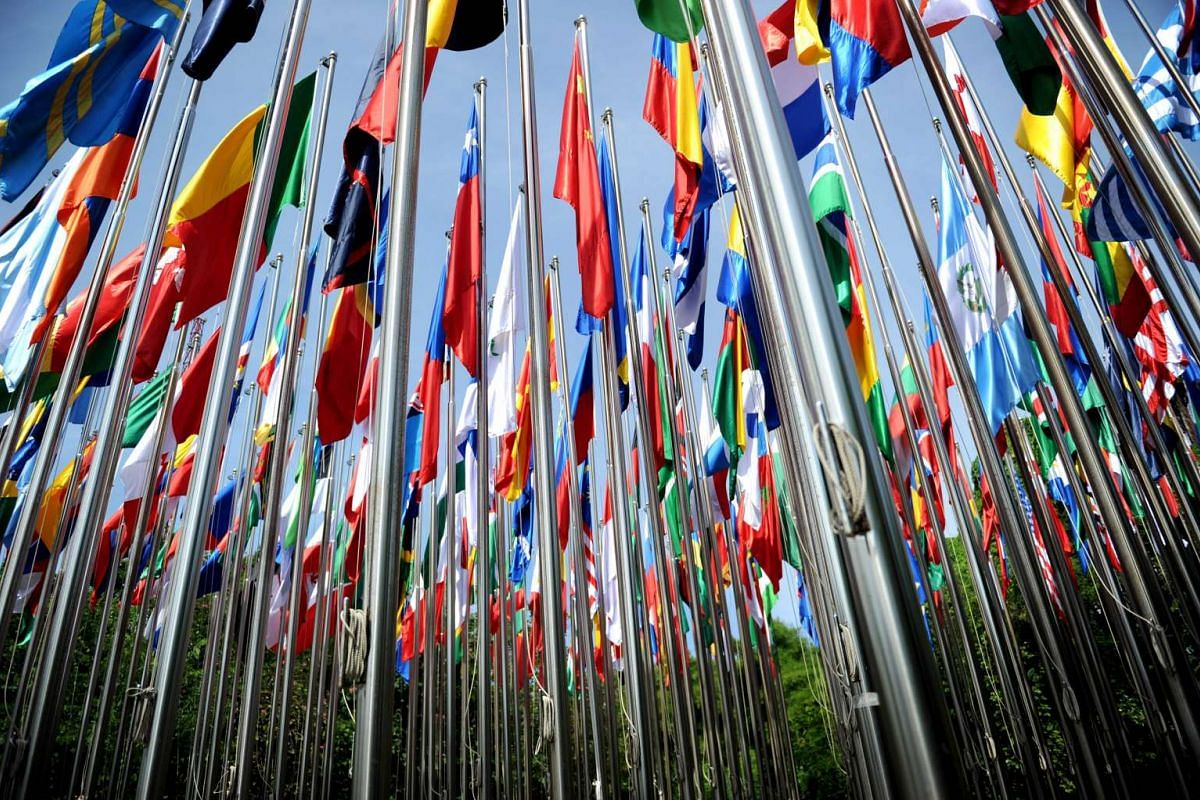 Flags of countries that participate in the Interpol Annual General Assembly are seen in Nusa Dua on resort island of Bali on Nov 7, 2016.