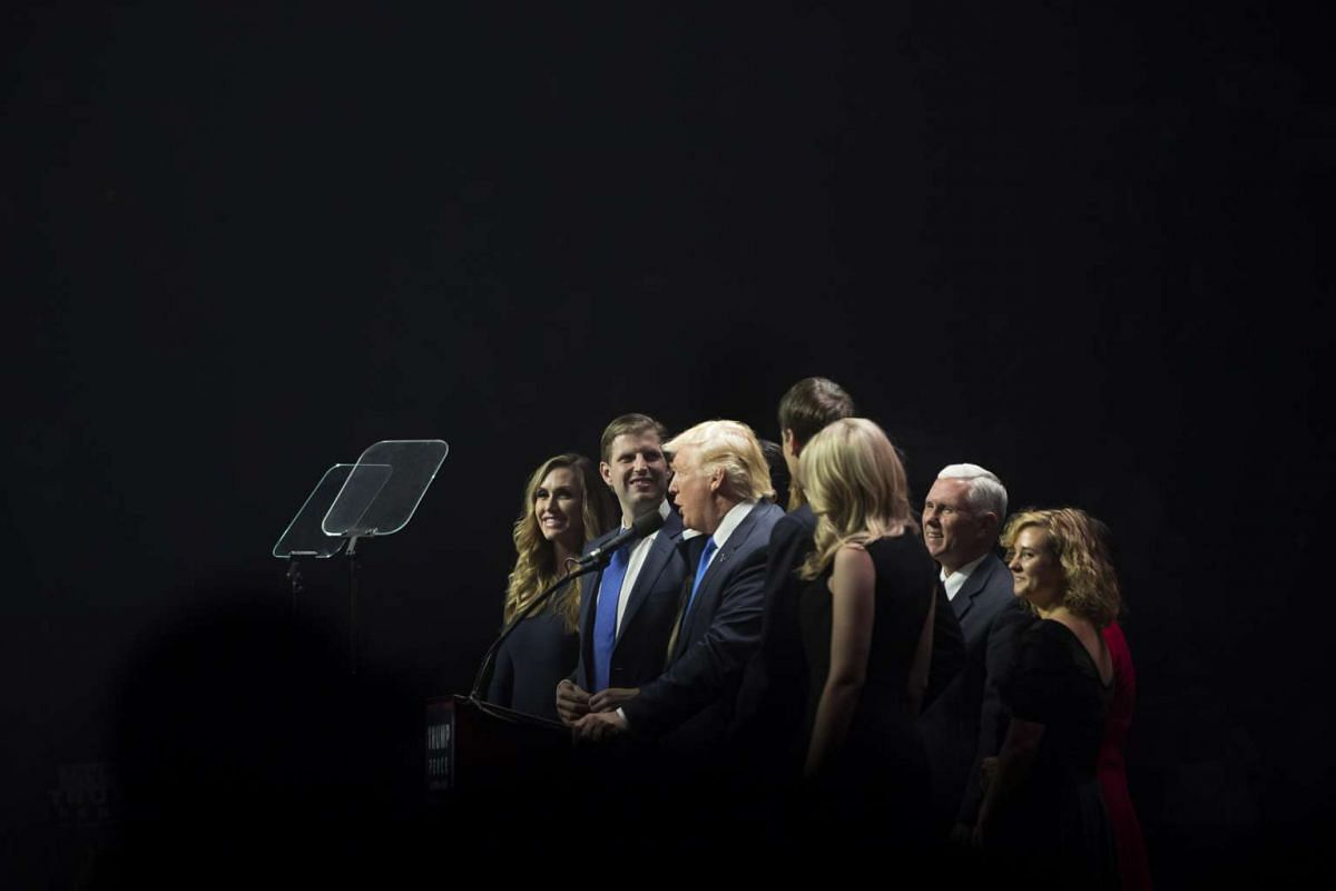 Republican presidential candidate Donald Trump, with members of his family and running mate Mike Pence, speaking at a campaign rally in Manchester, New Hampshire, on Nov 7, 2016.