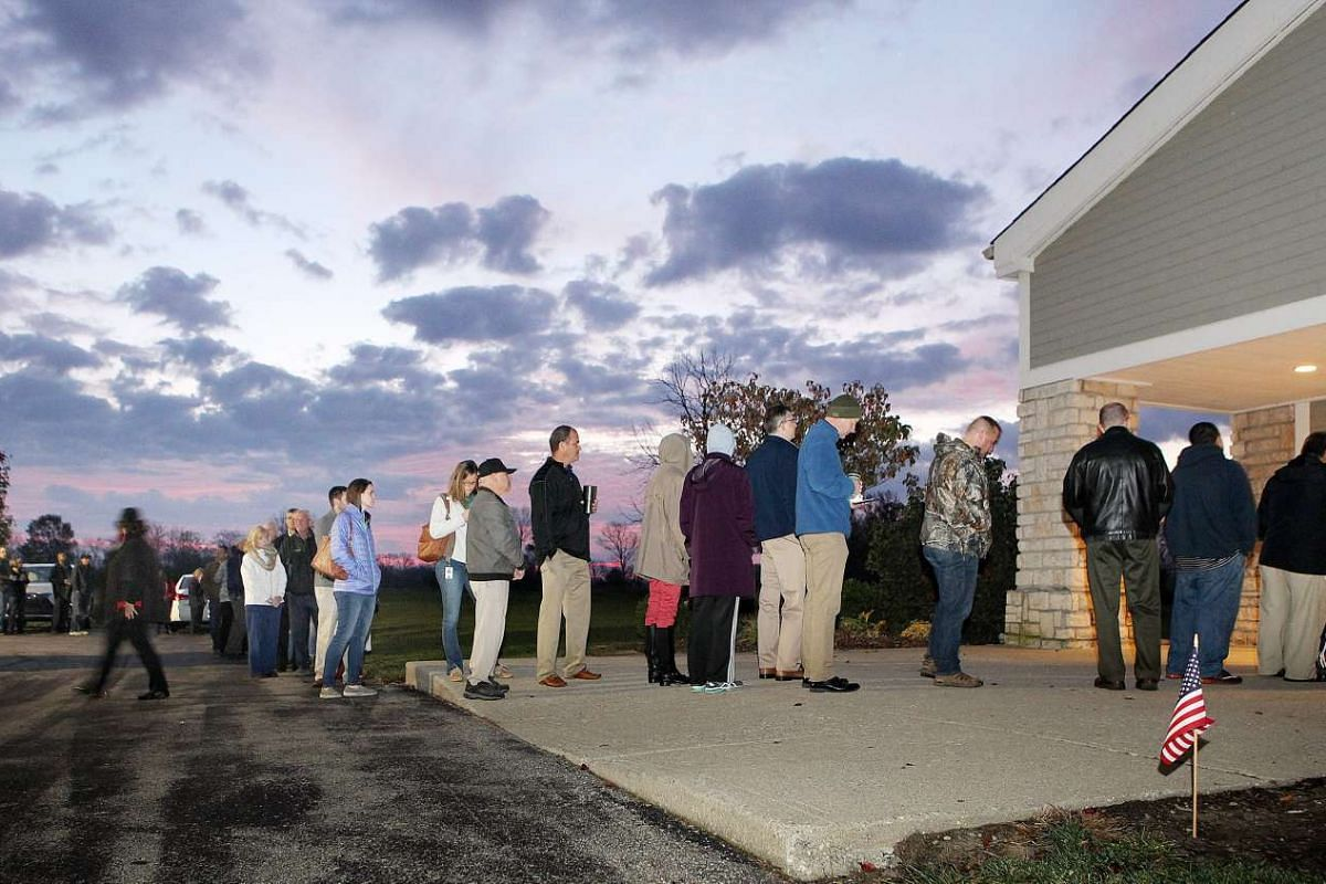 Over 150 voters were in line before the polls opened at the North Cincinnati Community Church in Deerfiled Township, Ohio, USA on Nov 8, 2016.