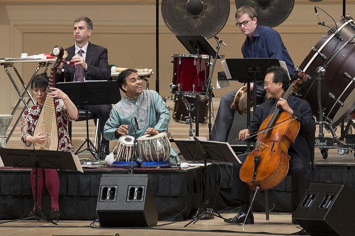 Cellist Yo-Yo Ma and fellow musicians of the Silk Road Ensemble.