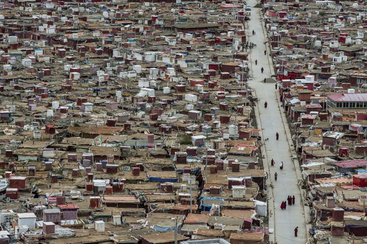 Cramped huts in Yarchen Gar, a monastic encampment home to thousands of Buddhist nuns, in China's remote Sichuan province on Oct 11, 2016.