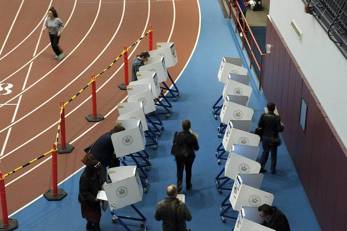 Voters casting ballots at Park Slope Armory YMCA in Brooklyn, New York.