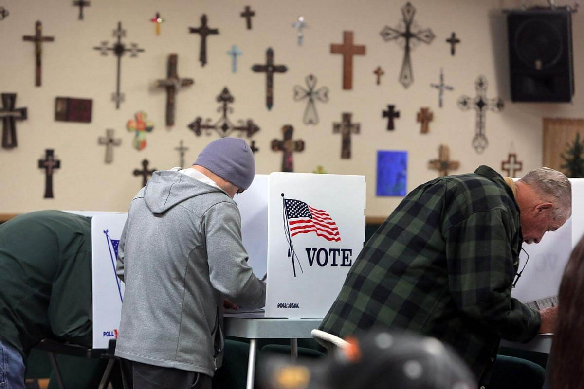 People voting at a polling station in the Summit Christian Fellowship in Big Bear, California.