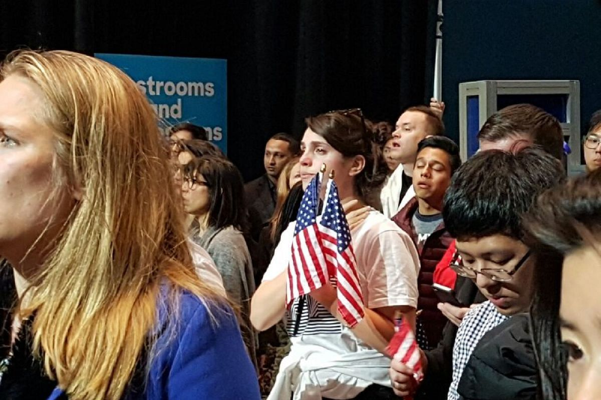 Emotional Clinton supporters at the Jacob Javits Convention Center on Nov 9, 2016.