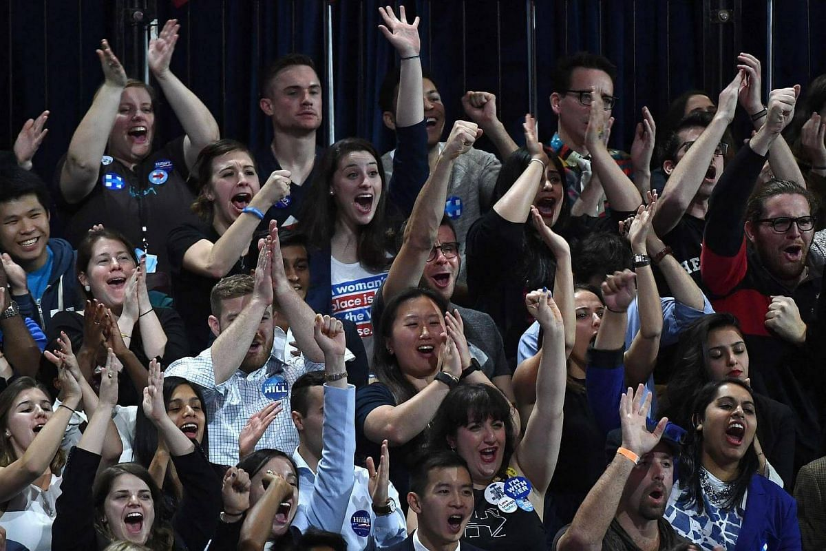 Supporters of Democratic presidential nominee Hillary Clinton cheering during election night at the Jacob K. Javits Convention Center in New York, on Nov 8, 2016.