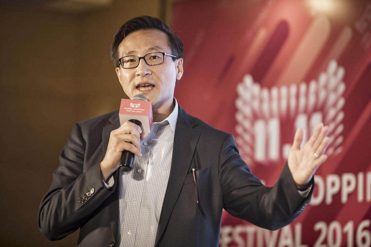 Joseph Tsai, co-vice chairman of Alibaba, speaks during a news conference ahead of Alibaba 11.11 Global Shopping Festival Countdown Gala on Nov 10, 2016.