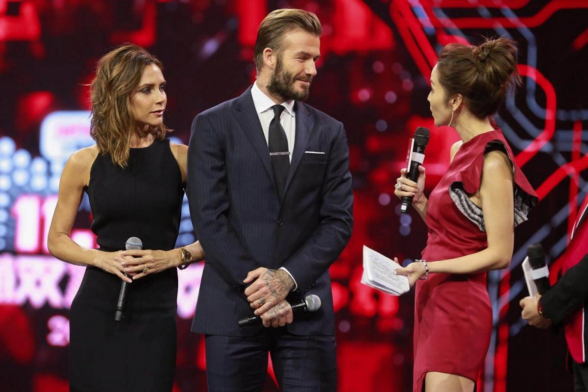 Victoria Beckham and husband David Beckham at the Alibaba 11.11 Global Shopping Festival Countdown Gala on Nov 10, 2016.