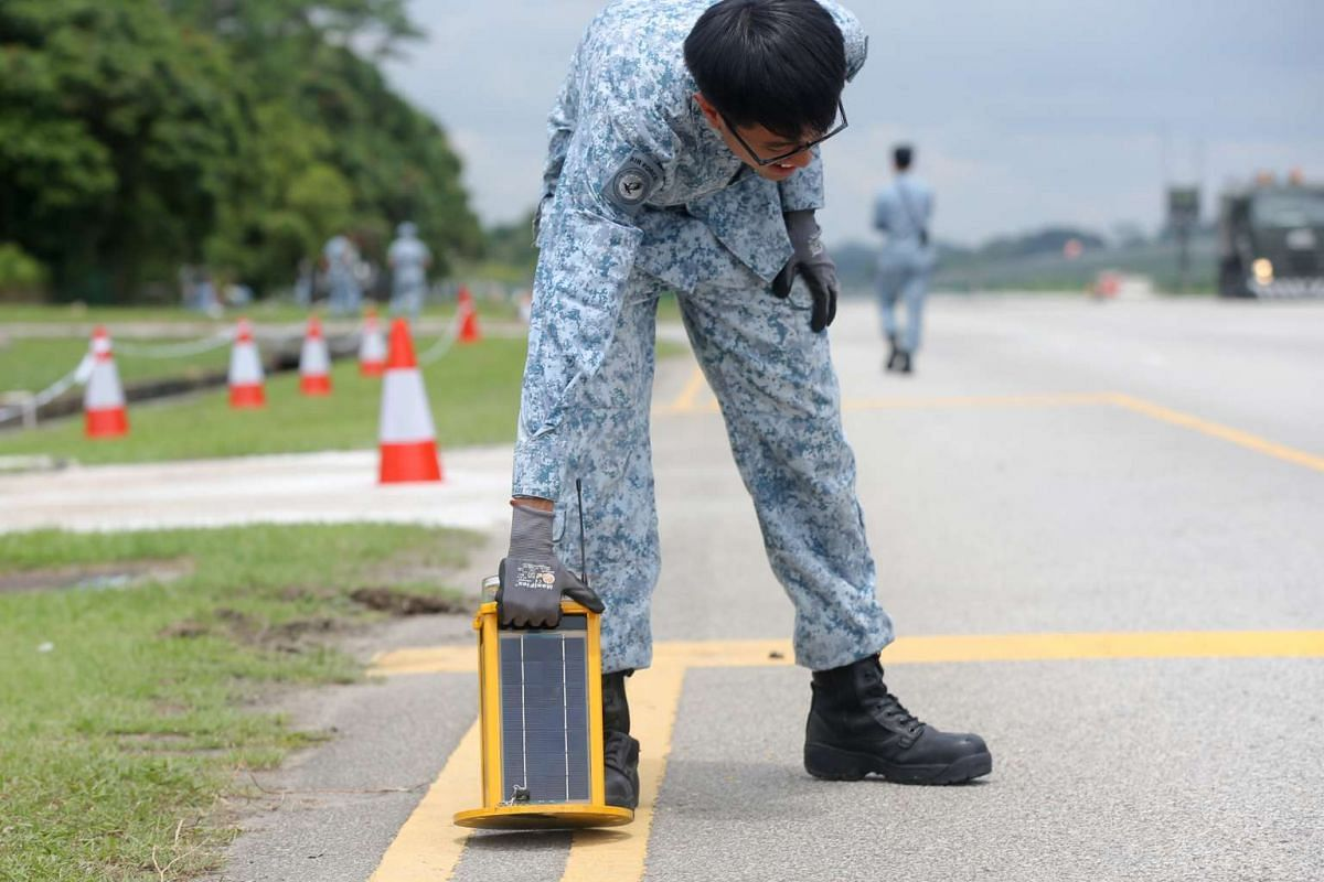 A Solar Portable Airfield Light placed along the alternate runway along Lim Chu Kang Road to guide pilots in poor visibility conditions on Nov 11, 2016.