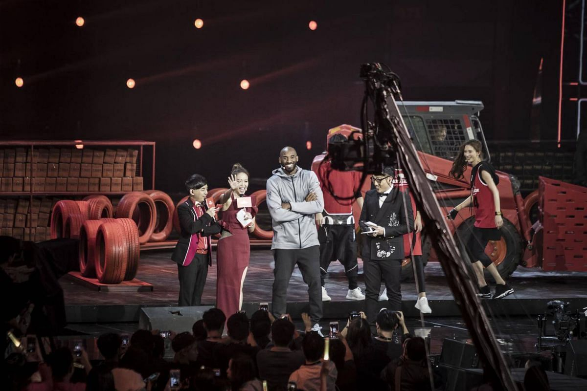 Kobe Bryant appears on stage during the Alibaba 11.11 Global Shopping Festival Countdown Gala on Nov 10, 2016.