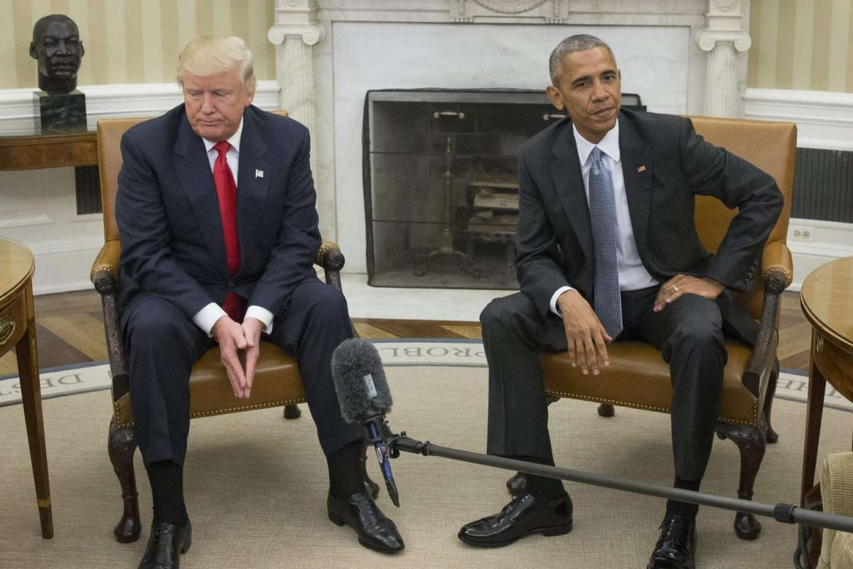 US President Barack Obama (right) and President-elect Donald Trump meet in the Oval Office of the White House in Washington, DC on Nov 10, 2016.