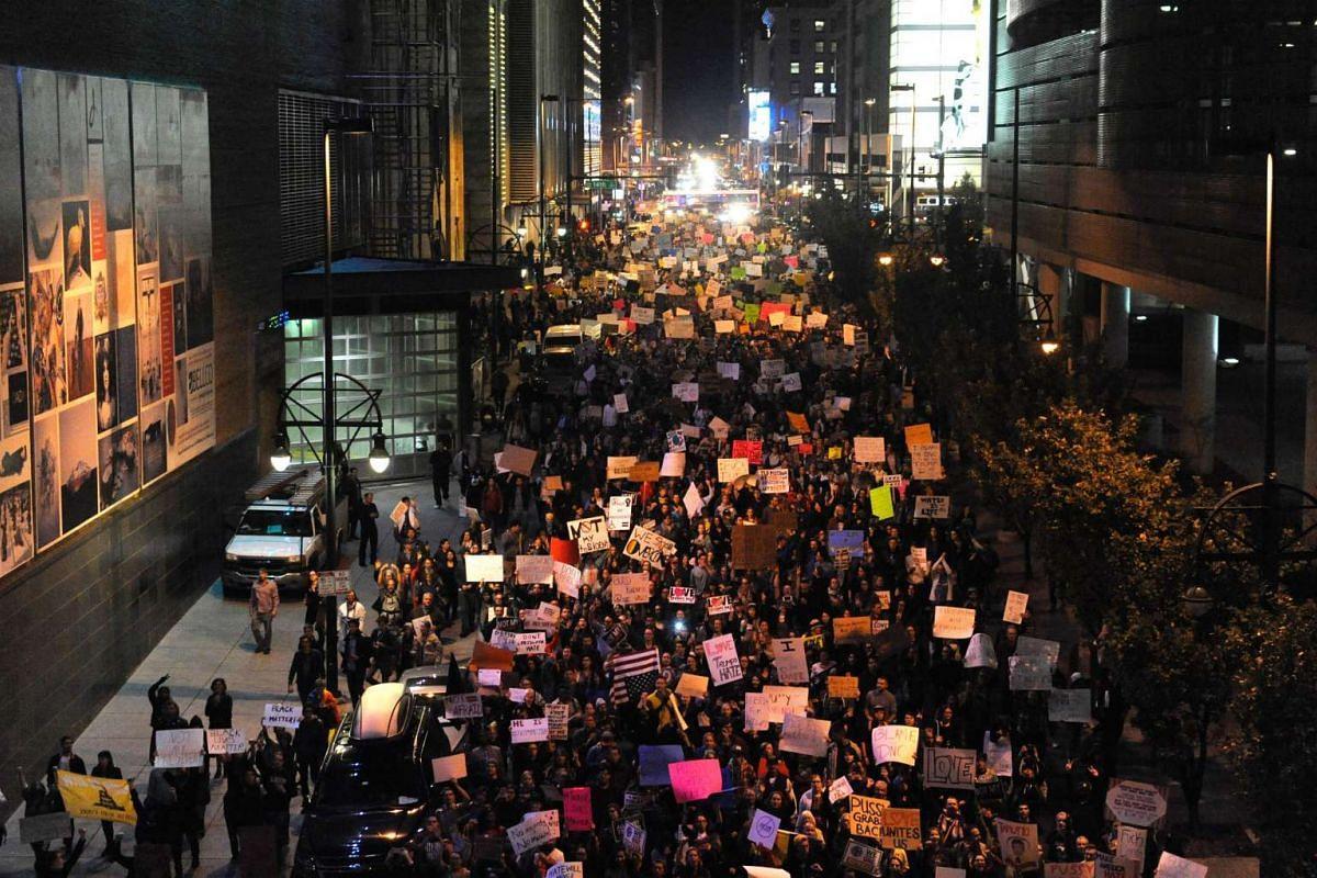 Demonstrators protest the election of President elect Donald Trump in Denver, Colorado on Nov 10, 2016.
