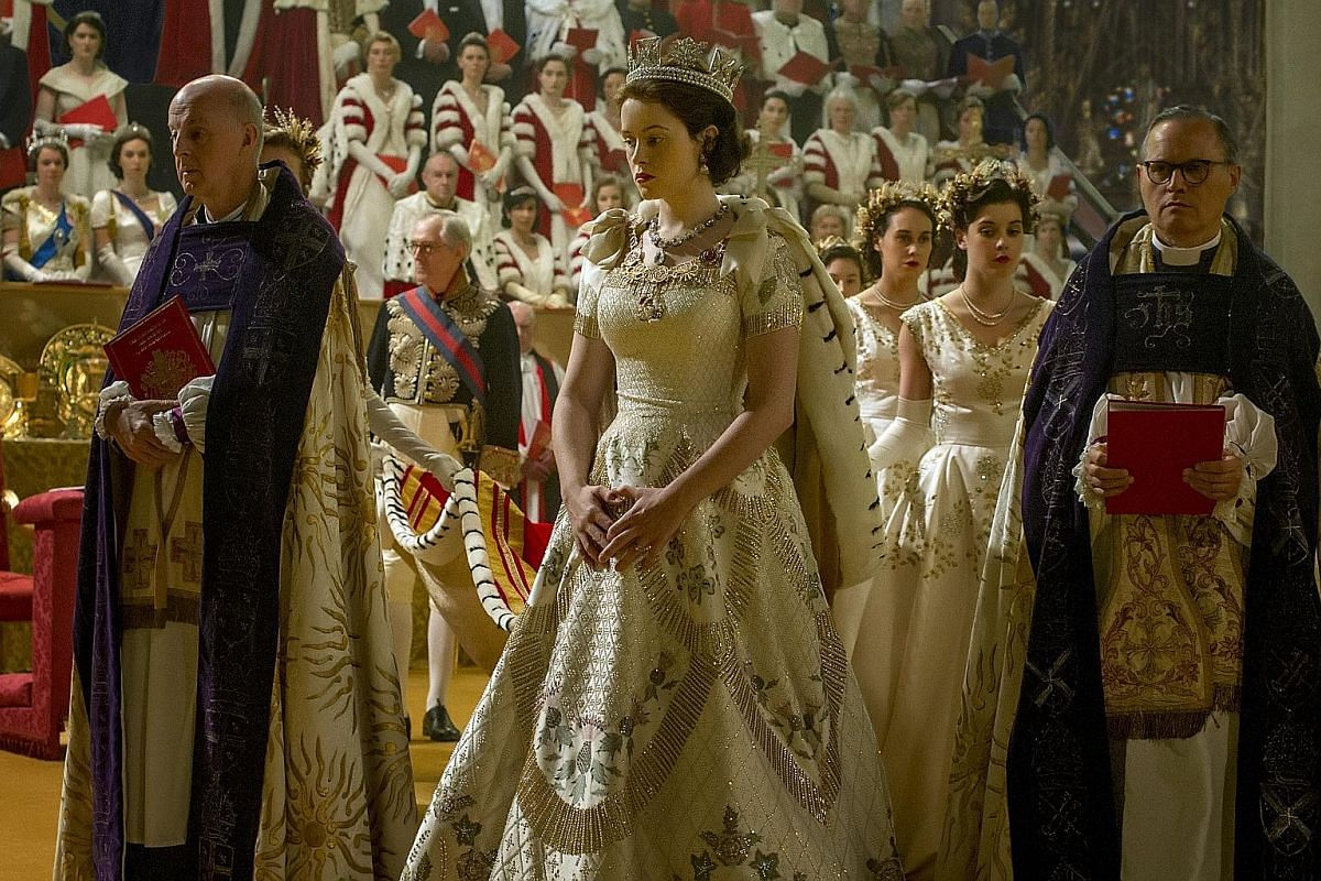 The Crown is an imtimate look at the personal life of the Queen (played by Claire Foy, left) but without going into salacious details.
