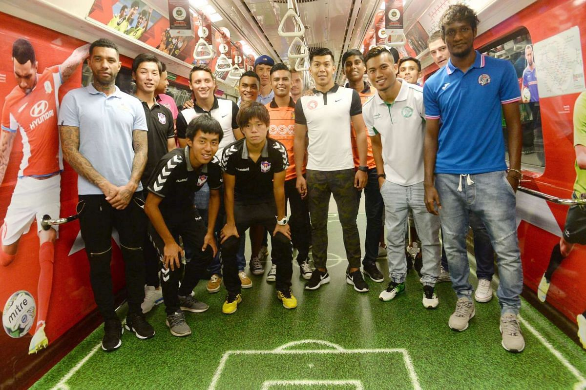 The Great Eastern-Yeo's S. League players at a media conference on Feb 12, 2016, to unveil the Football Association of Singapore's (FAS) new partnership with public transport operator SMRT. SMRT and FAS announced that the local transport operator wou