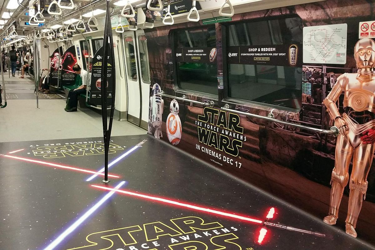 SMRT unveiled Singapore's first intergalactic Star Wars concept trains and buses on Dec 15, 2015. The launch is in line with the world premiere of the latest instalment of the series, Star Wars: The Force Awakens.
