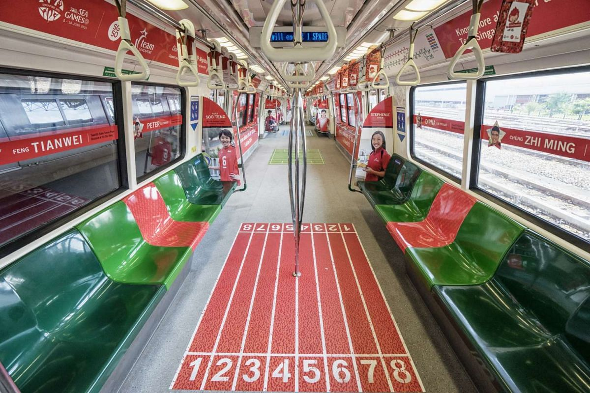 SMRT trains with SEA Games concept feature pictures of Team Singapore athletes, with messages to encourage commuters to wear red and root for our local sportsmen and sportswomen.