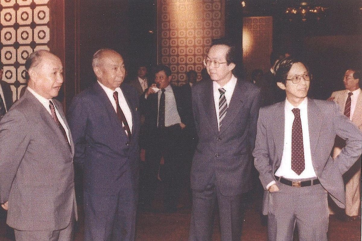 (From left) Defence Minister Howe Yoon Chong, Deputy Prime Minister Goh Keng Swee, CIS general manager Lai Chun Loong and Mr Yeo at an annual CIS showcase of new development products in 1981. Mr Yeo's life has just been chronicled in Neither Civil No