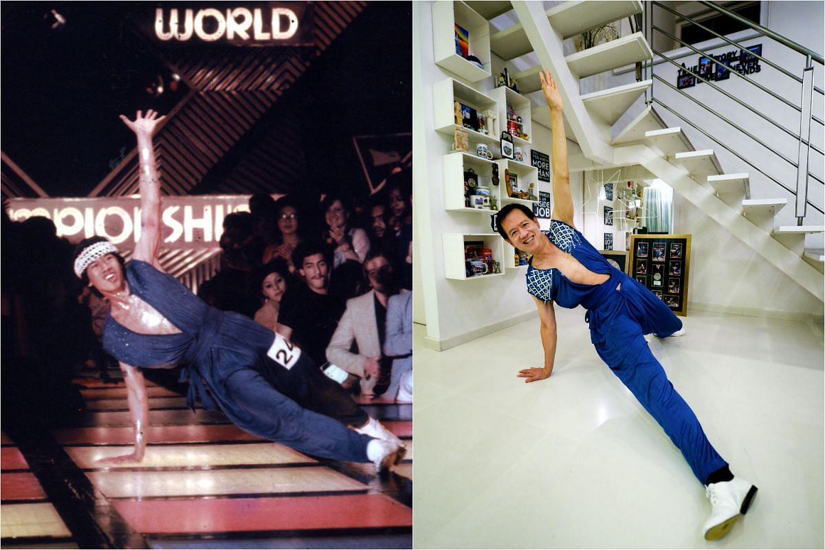 Mr Raymond Chong at the EMI World Disco Dancing Championship in 1980 (left) and now.