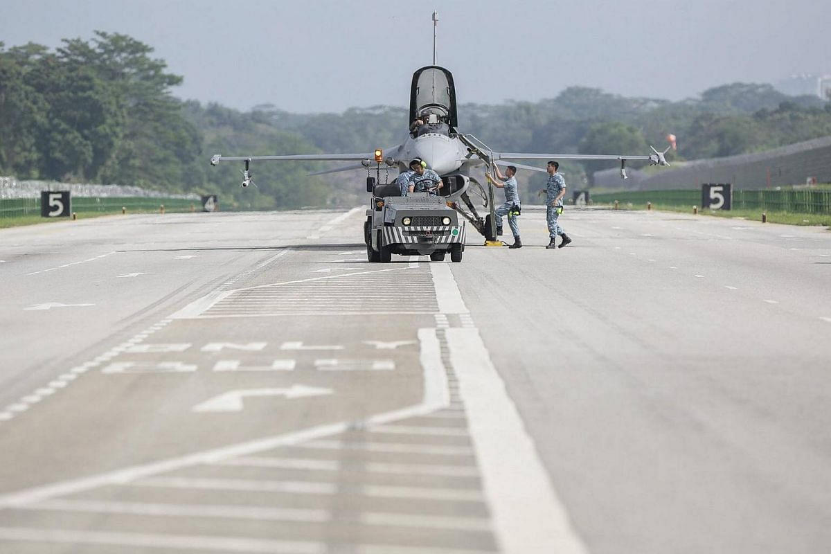 An RSAF F-16 is seen on the temporary runway.